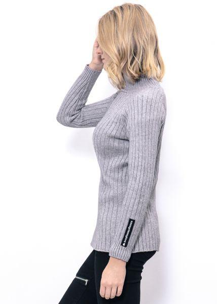 Softer Rippenstrick-Pullover, grau