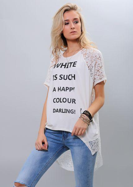 Oversize Longshirt mit Spitze, weiß