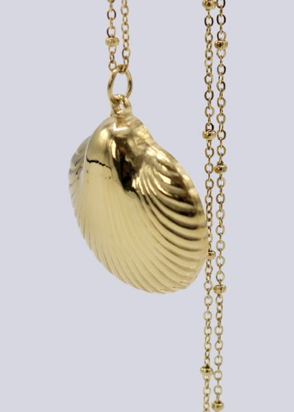 Lange Halskette mit Muschel-Anhänger, gold