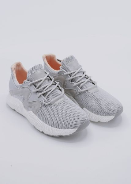 Sneaker mit weißem Plateau, grau