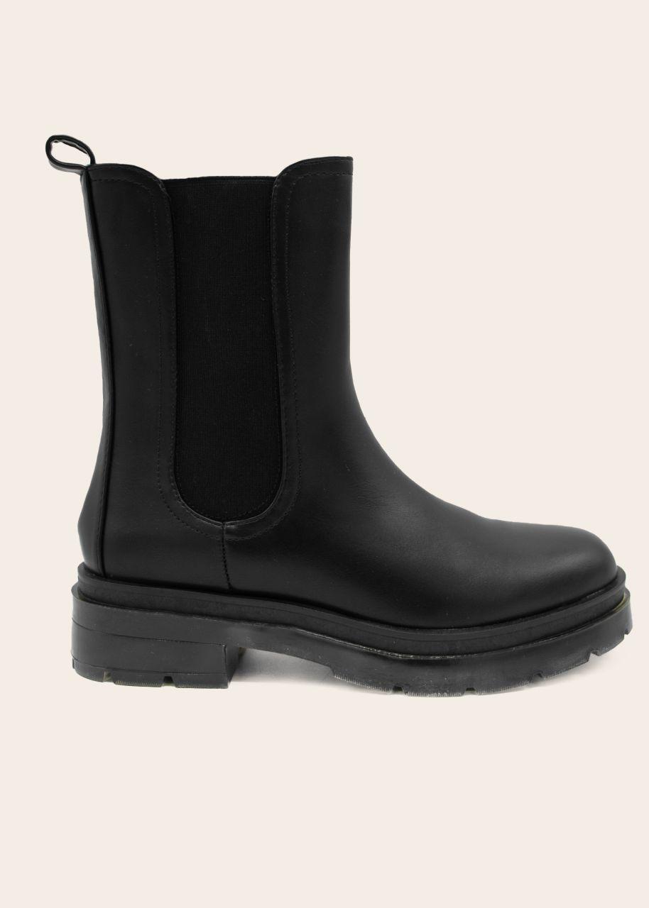 Chelsea Boots mit Plateau, schwarz