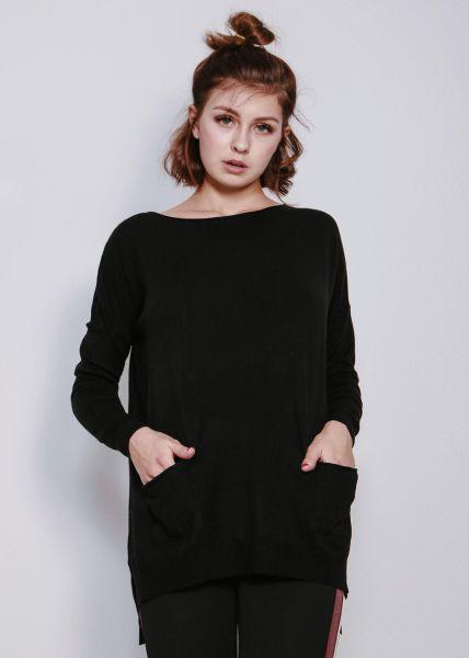 Oversize Pullover mit Taschen, schwarz