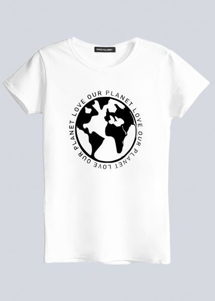 """T-Shirt """"LOVE OUR PLANET"""", weiß"""