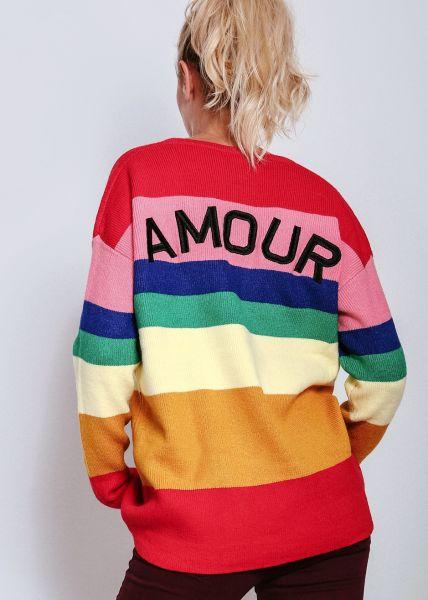 """Pullover """"AMOUR"""" mit bunten Streifen"""