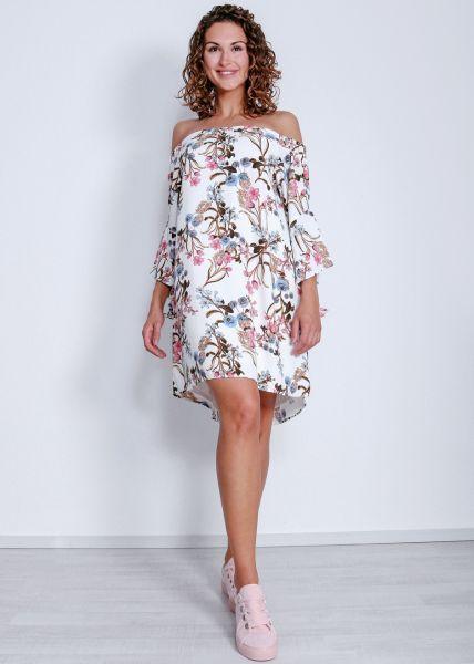 Schulterfreies Hängerchenkleid mit Blumenmuster, weiß