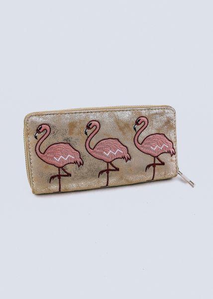 Geldbörse mit Flamingos, gold