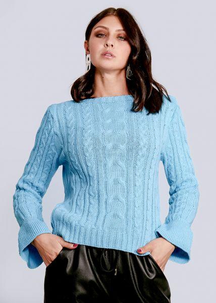 Zopf-Pullover mit Volantsärmel, hellblau