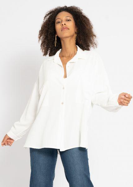 Oversize Hemdbluse mit Taschen, offwhite