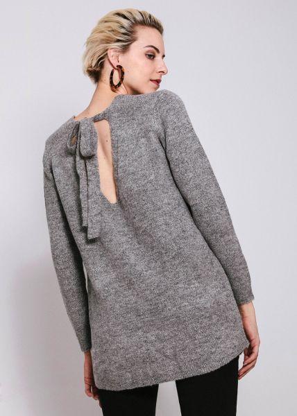 Oversize Pullover mit Schleife, grau
