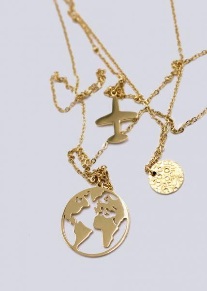Mehrlagige Halskette mit Reise-Symbolen, gold