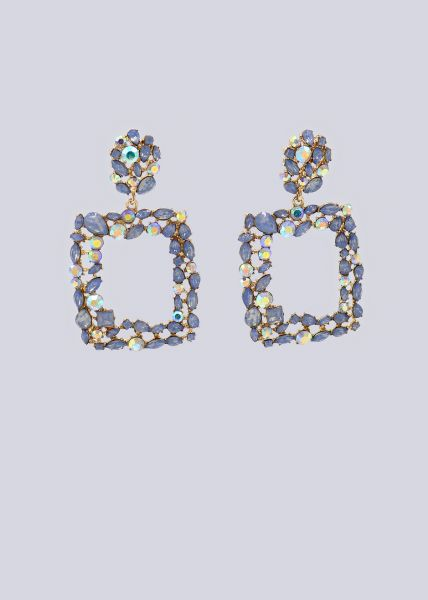Ohrhänger mit hellblauen Schmucksteinen, gold