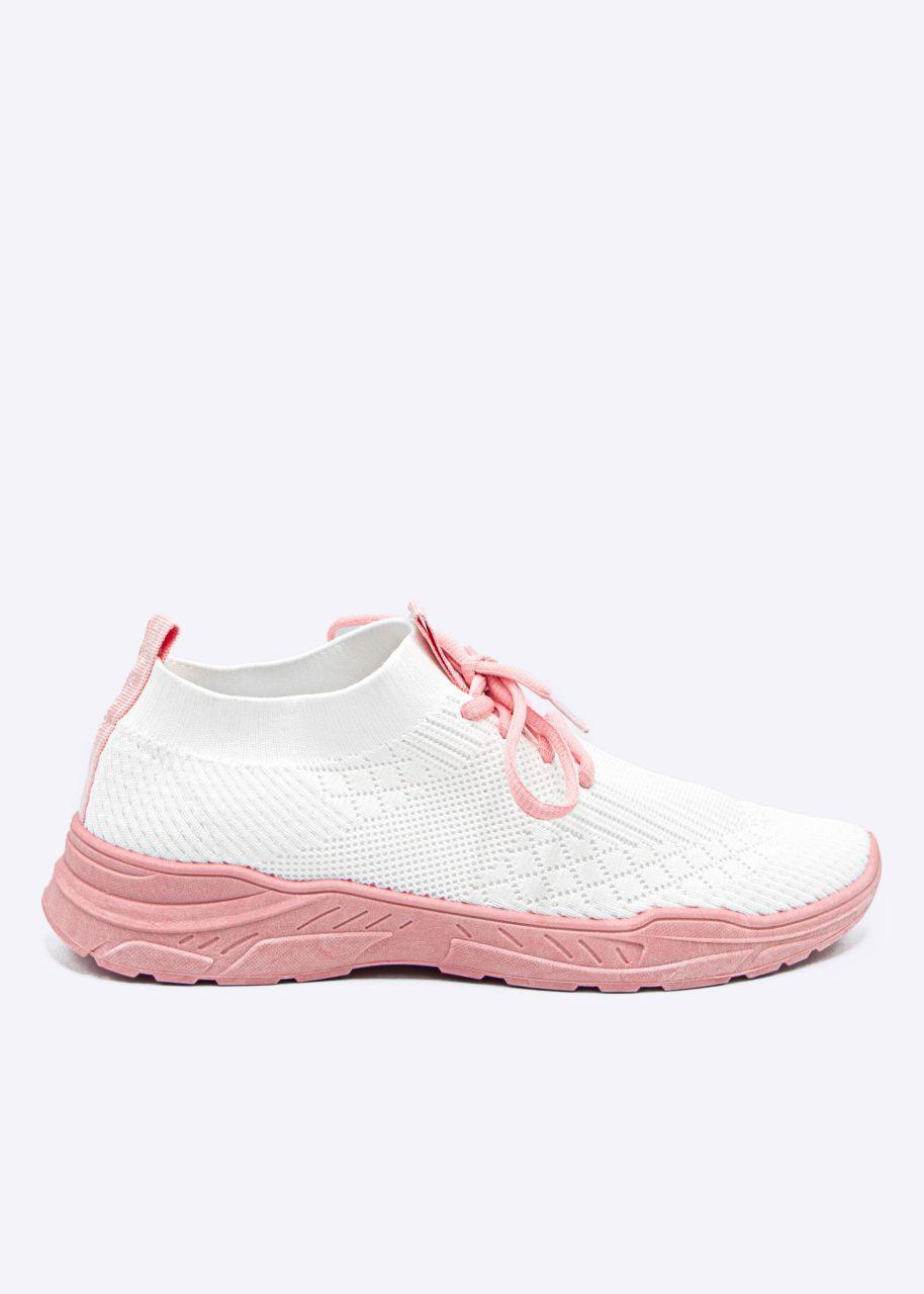 Sneaker mit rosa Sohle, weiß