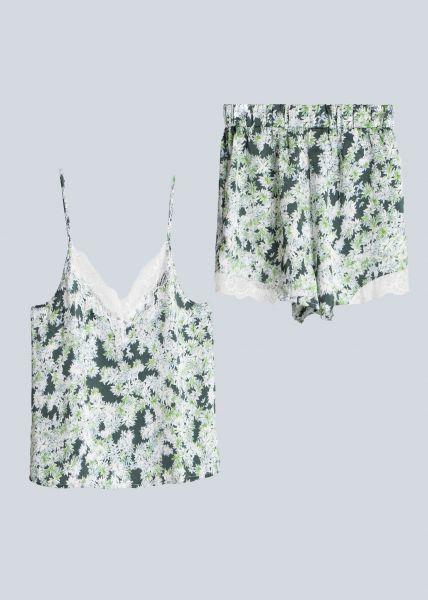 Zweiteiler, Shorts und Top mit Print, grün