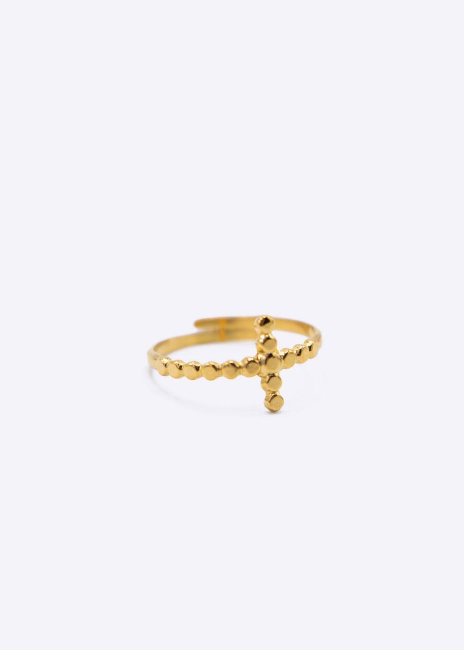 Ring mit Kreuz, gold