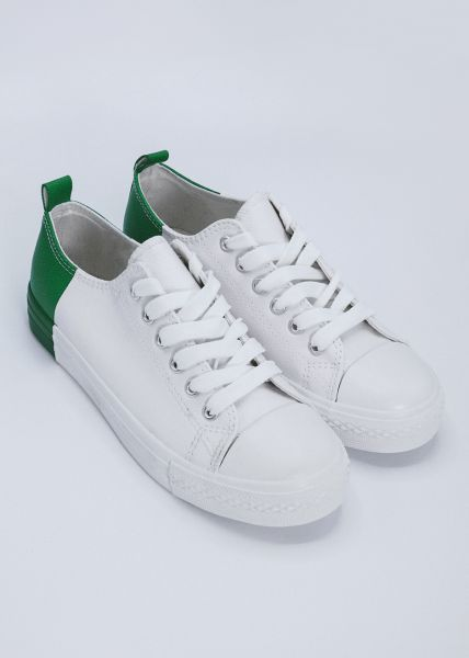 Sneaker mit grüner Ferse, weiß