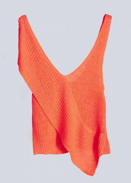 Asymmetrisches Strick-Top, orange