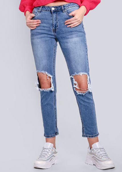 Midwaist Jeans, destroyed, blau