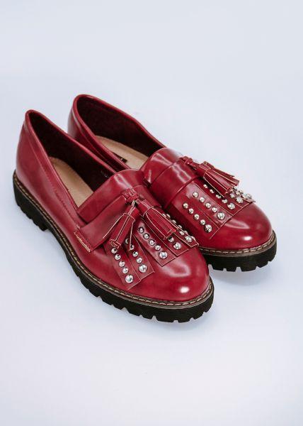 Loafer mit Nieten und Tassels, rot