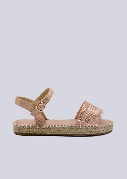Sandalen mit Flecht-Optik, roségold