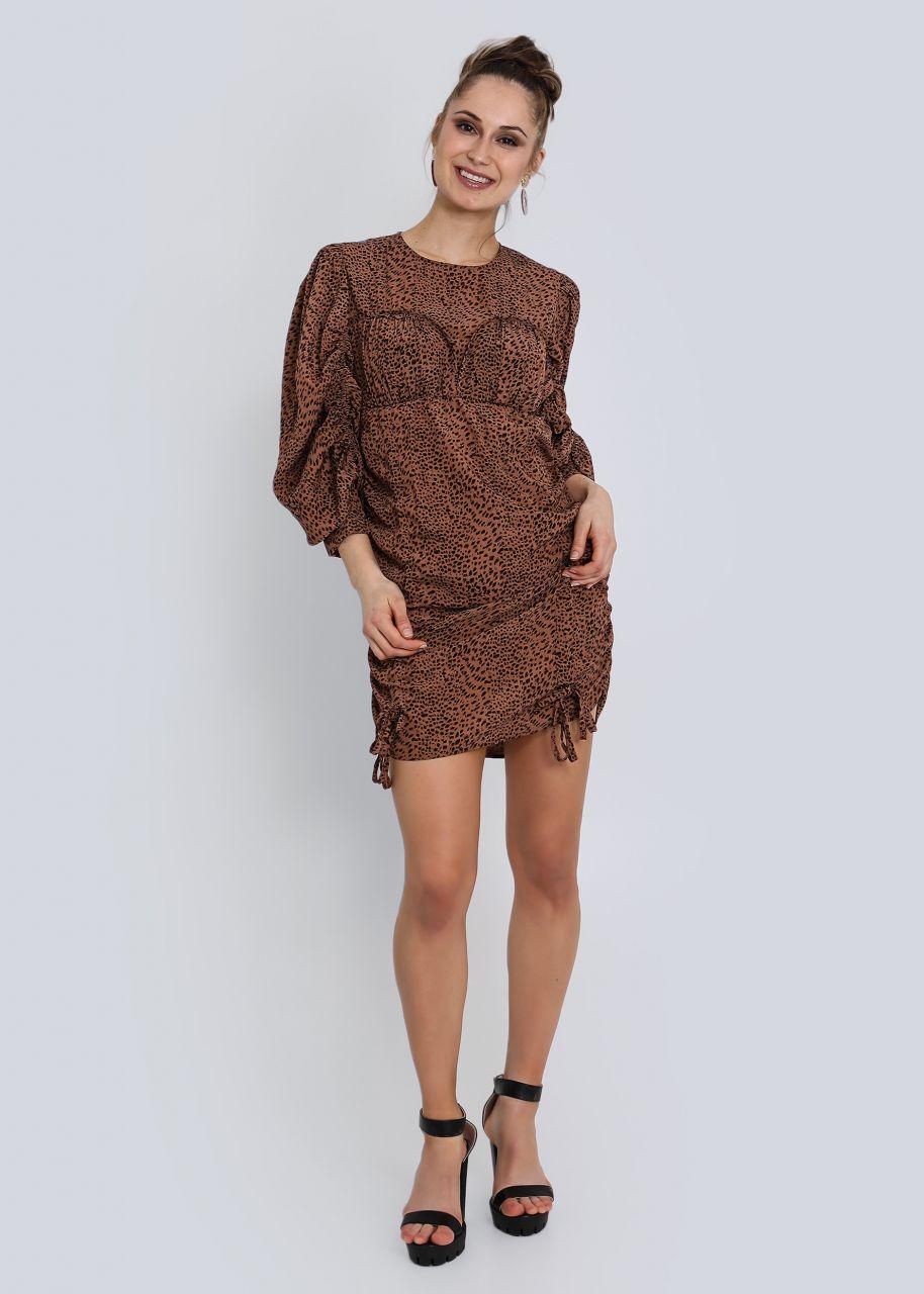 Kleid mit Raffung in Leo-Print, rost