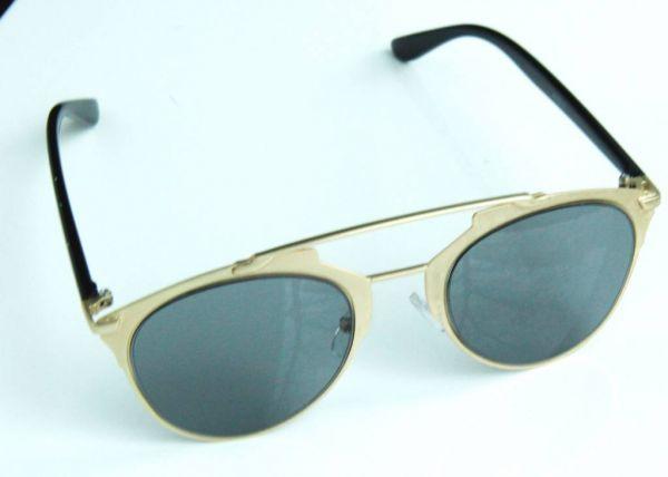 Pilotenbrille mit Brauensteg, mattgold