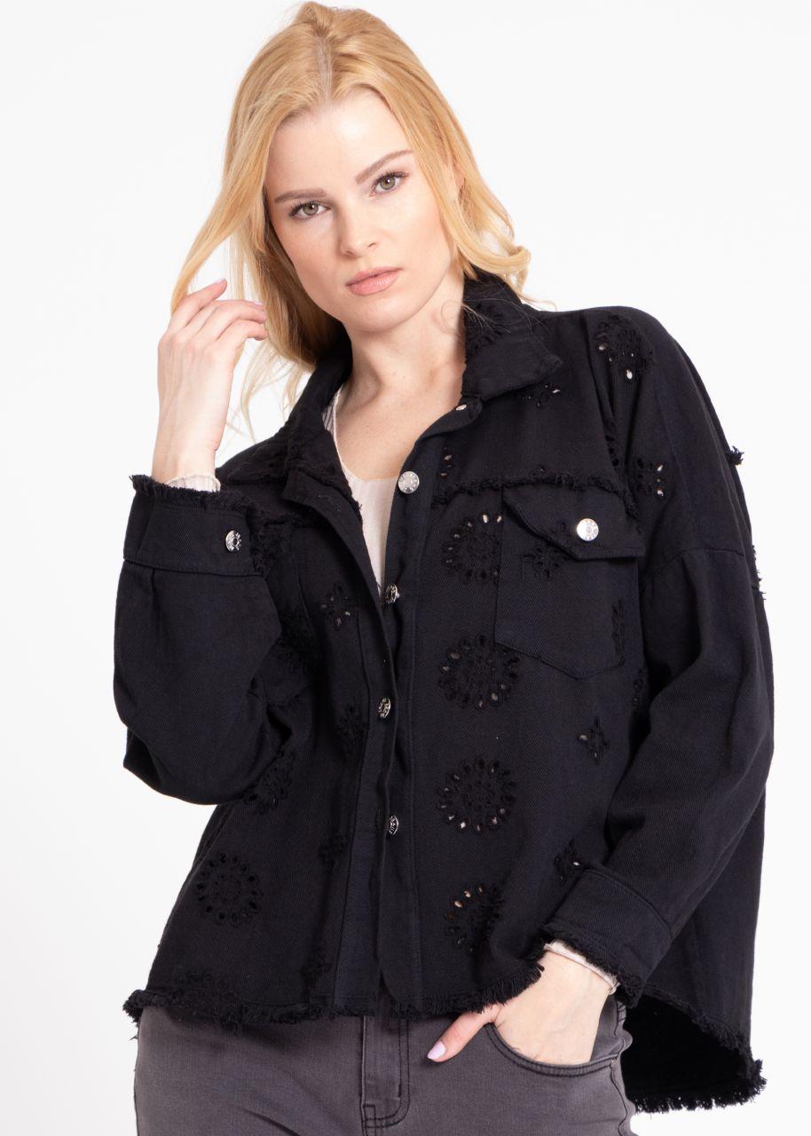 Oversize Jacke mit Spitzen-Muster, schwarz