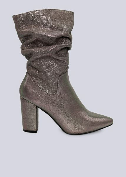 Halbhohe Stiefel, taupe/silber