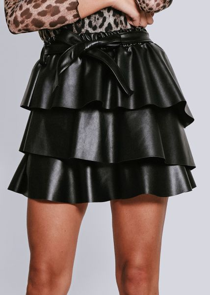 Lederrock mit Volants, schwarz