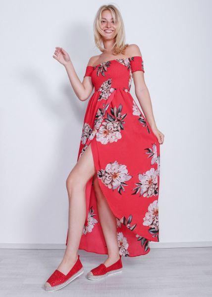 Schulterfreies Maxikleid mit Blumenprint, rot