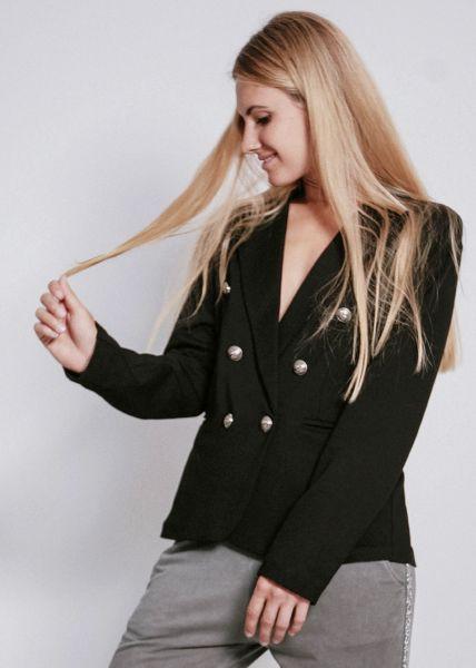 Jersey-Blazer, schwarz