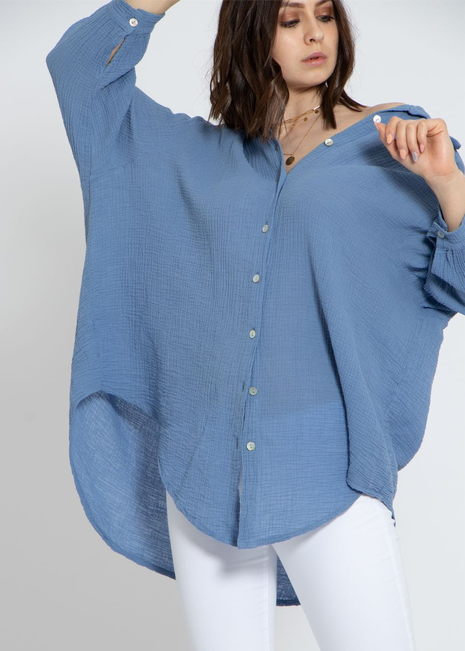 Ultra oversize leicht transparentes Blusenhemd, blau