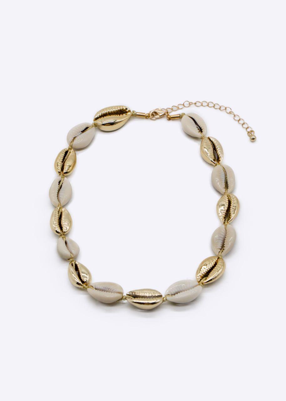 Muschelkette, beige/gold