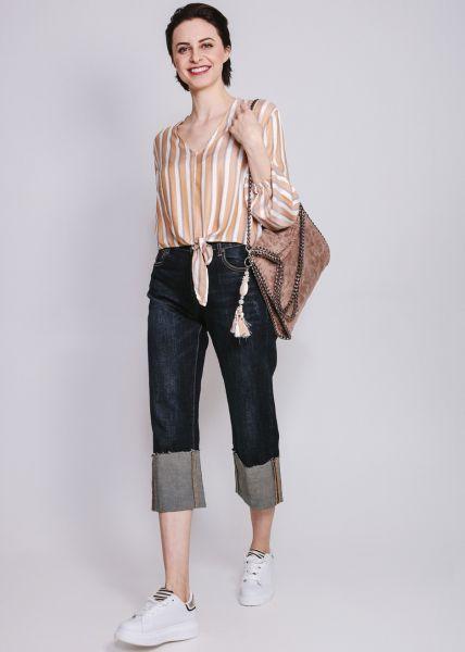 Highwaist Jeans mit breitem Aufschlag