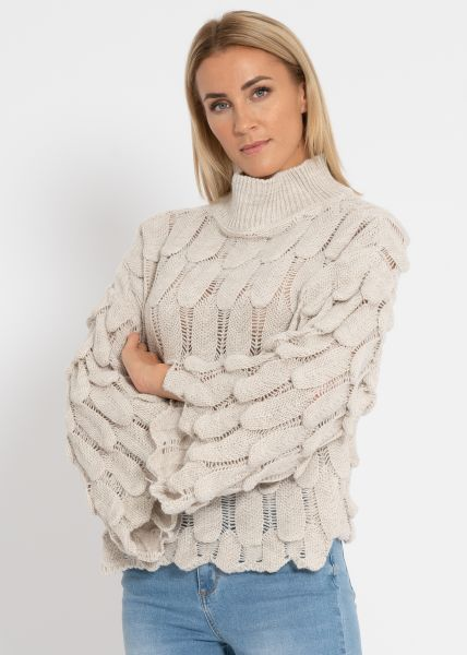 Oversize Pullover mit Muster, beige