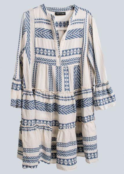 Lässiges Tunika-Kleid mit Print, blau