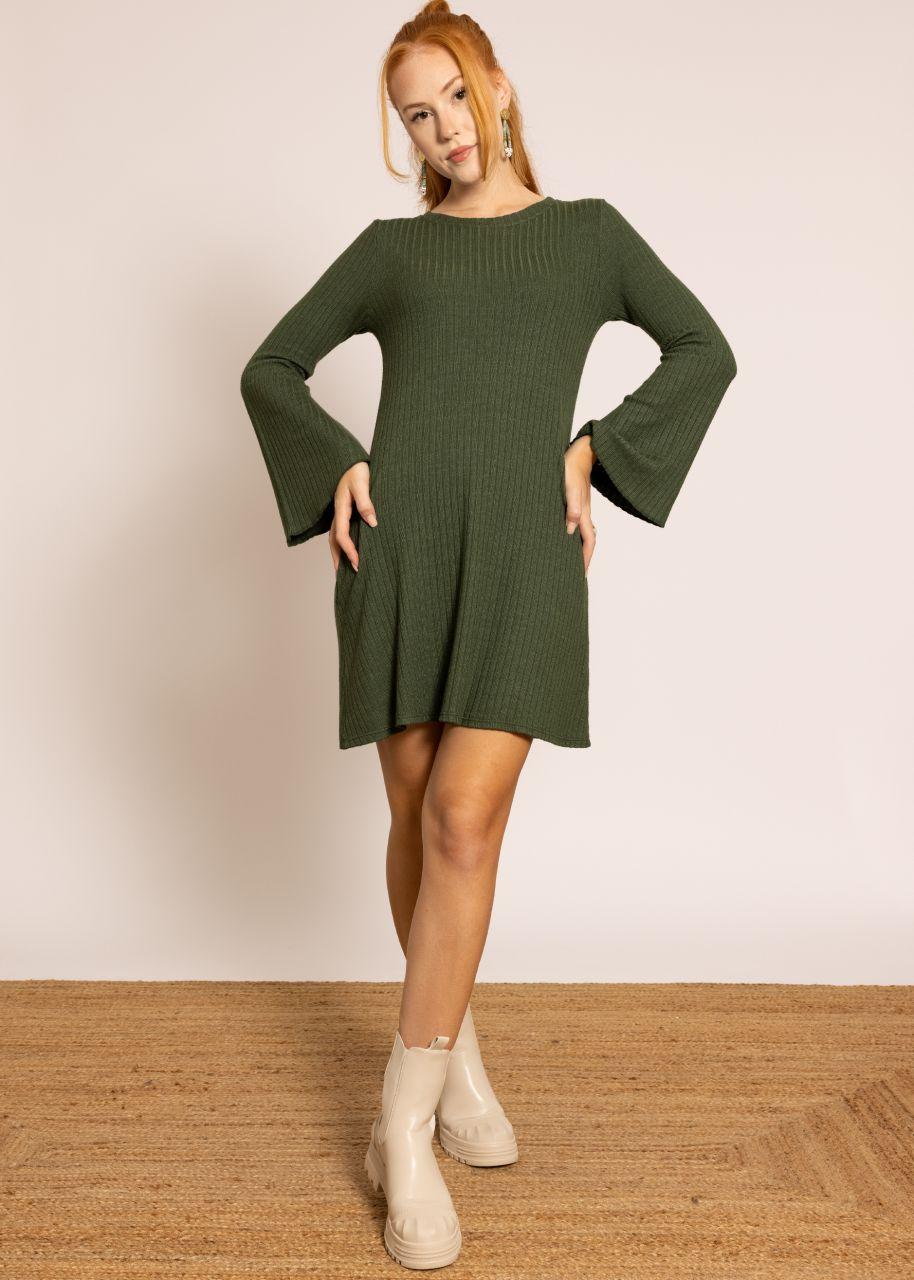 Jerseykleid mit weiten Ärmeln, dunkelgrün