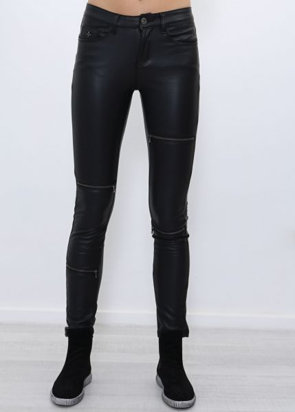 Skinny Jeans aus Kunstleder, schwarz