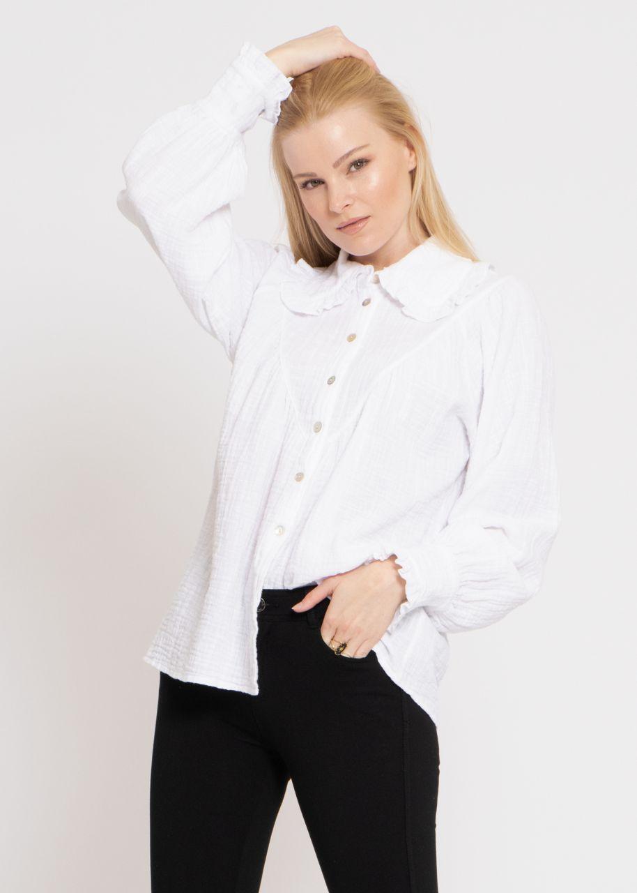 Bluse mit großem Rüschenkragen, weiß
