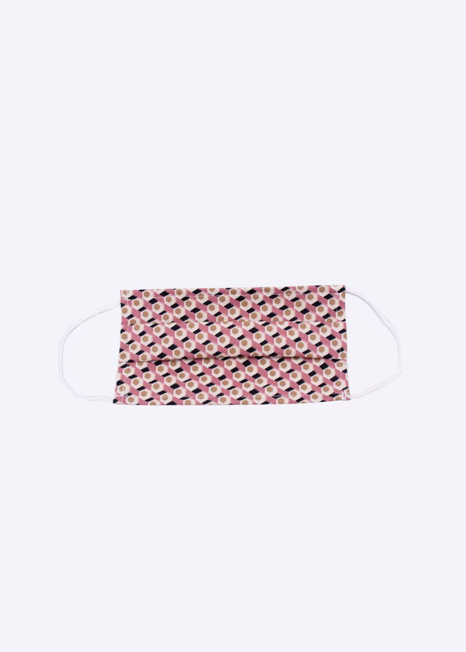 Stoffmaske mit geometrischem Print, rosa
