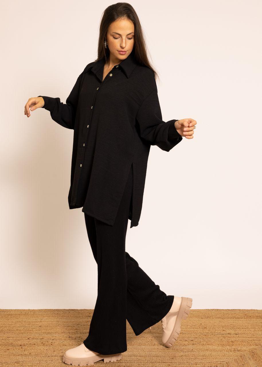 Oversize Blusenjacke mit hohen Schlitzen, schwarz