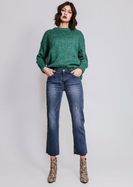 Mom-Jeans, leicht destroyed, blau