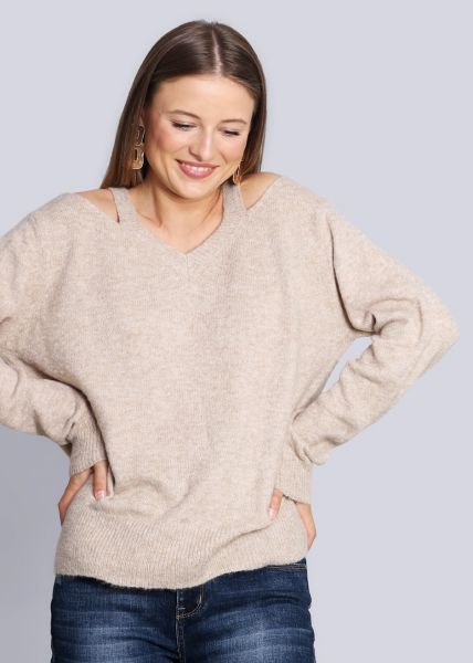 V-Pullover mit Cut-Outs, beige