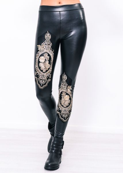 Thermo-Leggings mit Applikationen, schwarz