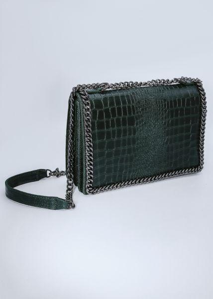 Umhängetasche aus Leder mit Prägung, grün