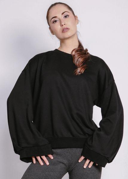 Sweatshirt mit weitem Arm, schwarz