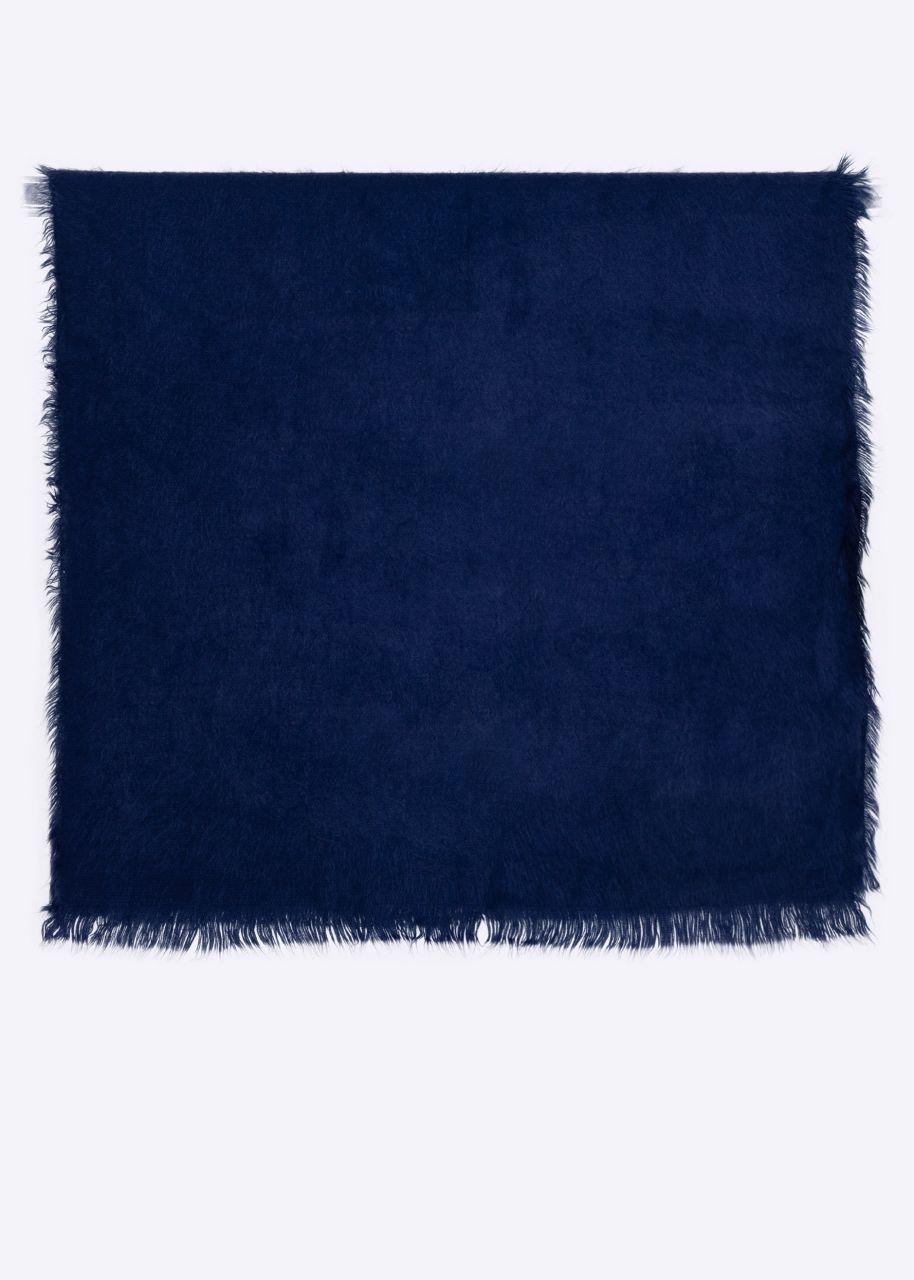 Schal mit ausgefransten Enden, blau