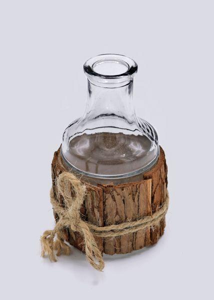 Glasvase mit Holzrinde