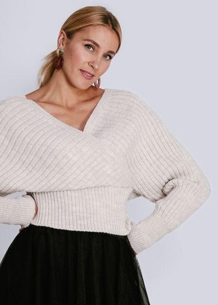 Pullover mit Wickel-Optik, beige
