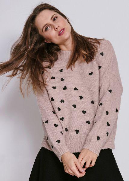 Pullover mit Herzen, rosa