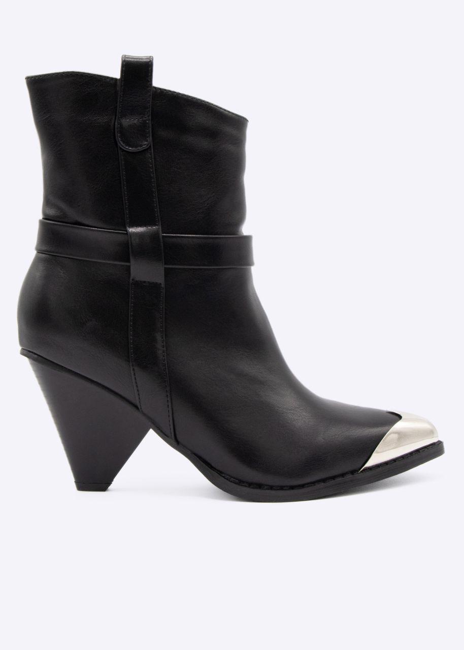 Boots mit silberner Spitze, schwarz
